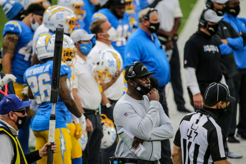 Chargers coach Anthony Lynn watches his team from the sideline