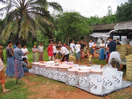 Making clay water filters in Myanmar