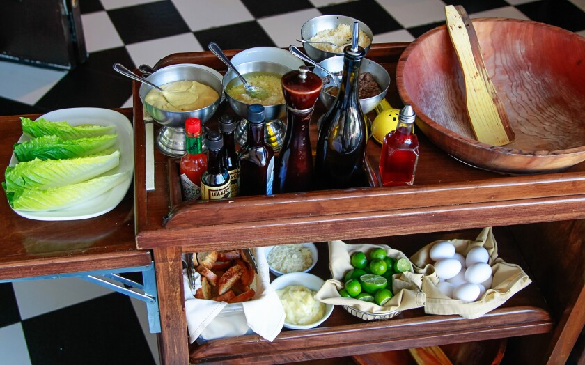 A table-side cart with all the ingredients used to create the famous Caesar Salad at Caesar's Restaurante Bar in Tijuana.