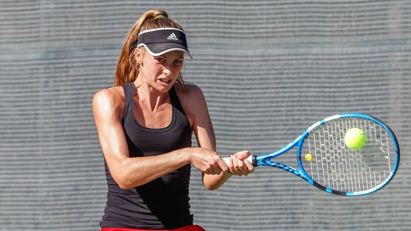 SAN DIEGO, CA November 9th, 2018 | Canyon Crest Academy tennis player Katie Codd plays in the San Di