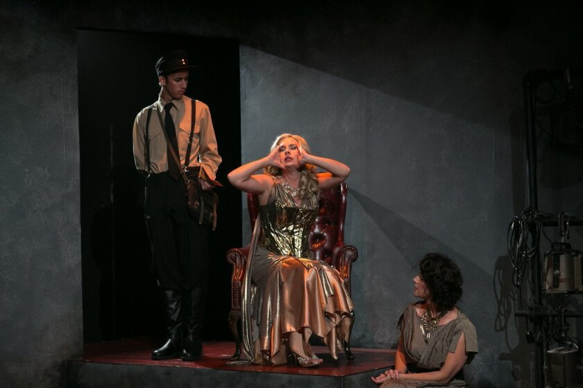 """Jewels Weinberg, Kerry McCue and Tiffany Tang (left to right) in Diversionary Theatre's """"Amazons and Their Men."""""""