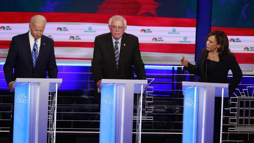 Democratic presidential candidate former Vice-President Joe Biden, left, and Sen. Kamala Harris, D-C