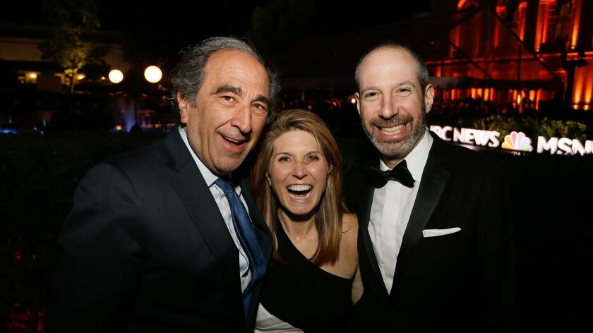NBC News Chairman Andy Lack, left, with MSNBC host Nicole Wallace and NBC News President Noah Oppenheim at the White House Correspondents Dinner in April.