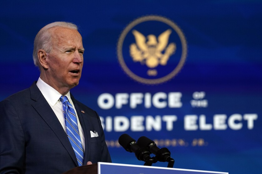 President-elect Joe Biden gives a speech at the Queen theater in Wilmington, Del., on Thursday.