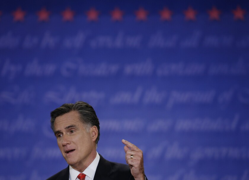 Mitt Romney at Wednesday's presidential debate in Denver.