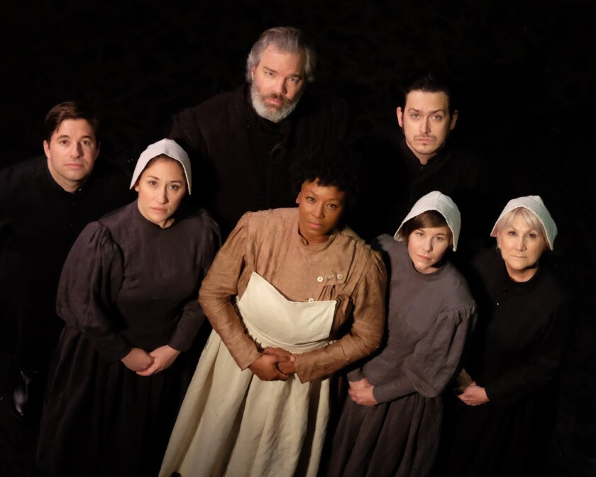 "Omri Schein, Caitie Grady, Jason Heil, Yolanda Marie Franklin, Charles Evans, Rachael VanWormer and Kerry Meads (from left) in Lamb's Players Theatre's ""Babette's Feast."""