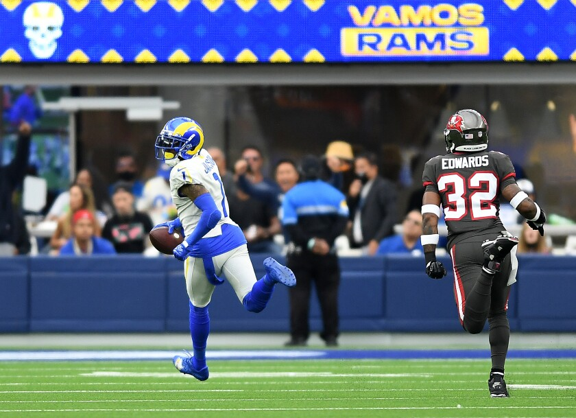 Rams receiver DeSean Jackson beats Buccaneers safety Mike Edwards to the end zone for a 75-yard touchdown catch.