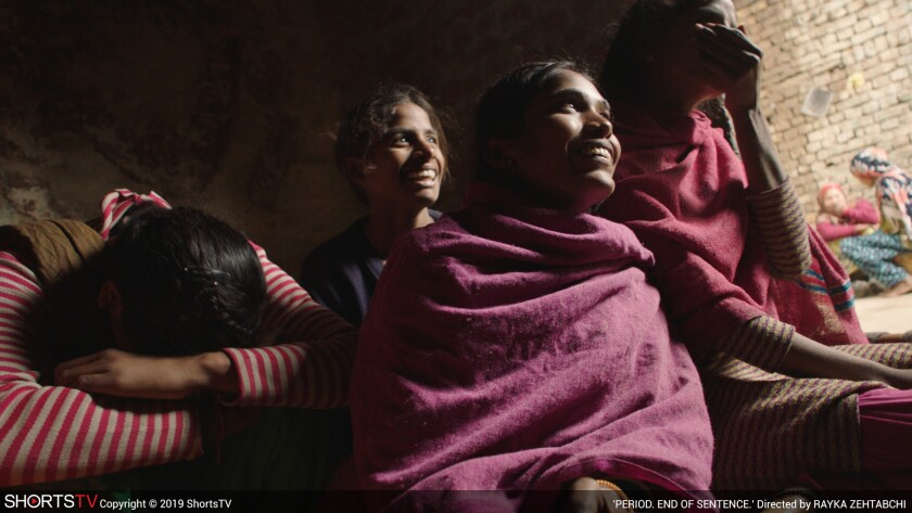 "A scene from the documentary short ""Period. End of Sentence"" directed by Rayka Zehtabchi. Credit: 20"