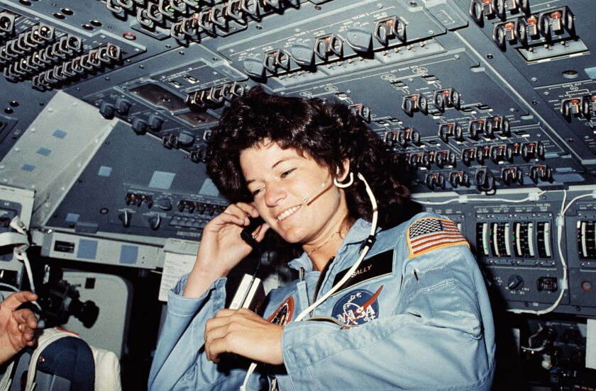 Sally Ride, America's first woman in space, on the flight deck of the space shuttle Challenger in 1983.