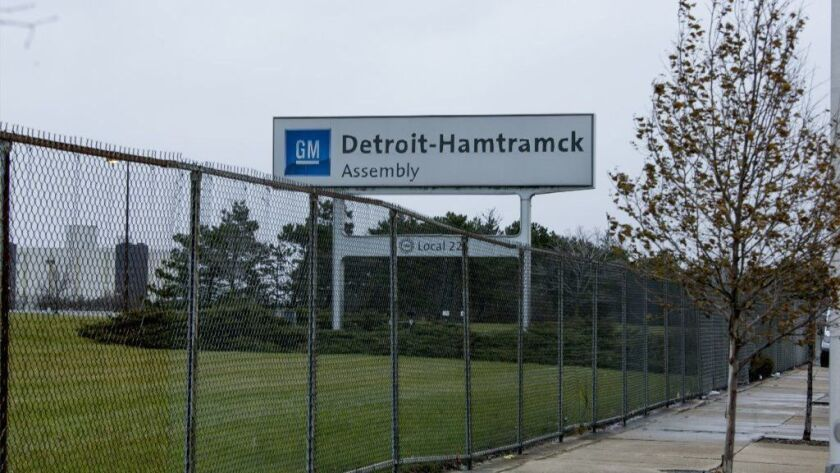A sign marks the General Motors Detroit-Hamtramck assembly plant in Detroit on Nov. 26, 2018. The planned shutdown of the plant would leave only one auto assembly factory in Detroit, though Fiat-Chrysler reportedly plans to reopen a former engine plant on the city's east side.