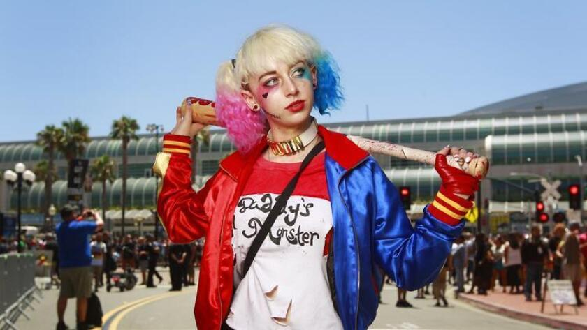 Dominique Cannon of Santa Cruz dresses as Harley Quinn from Suicide Squad at Comic-Con. (K.C. Alfred)