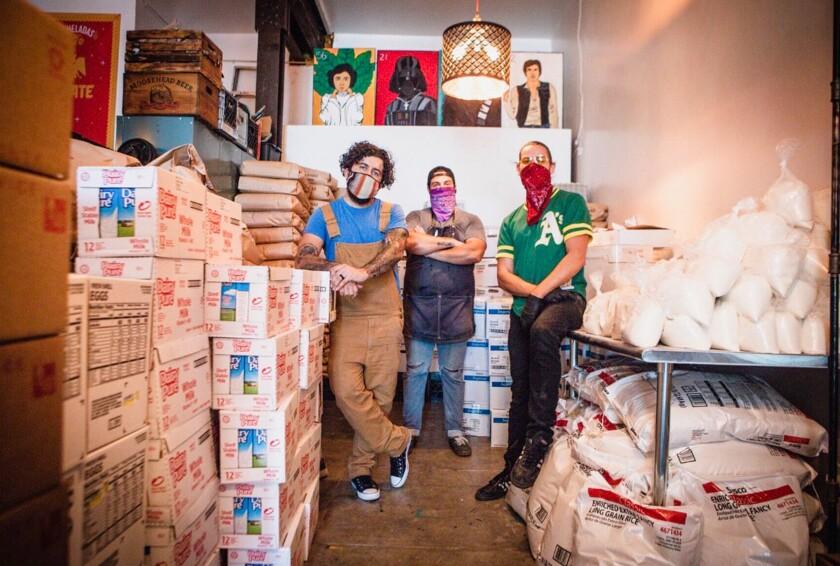 Aaron Melendrez, Othón Nolasco and Damian Diaz of Boyle Heights-based Va'La Hospitality and No Us Without You.