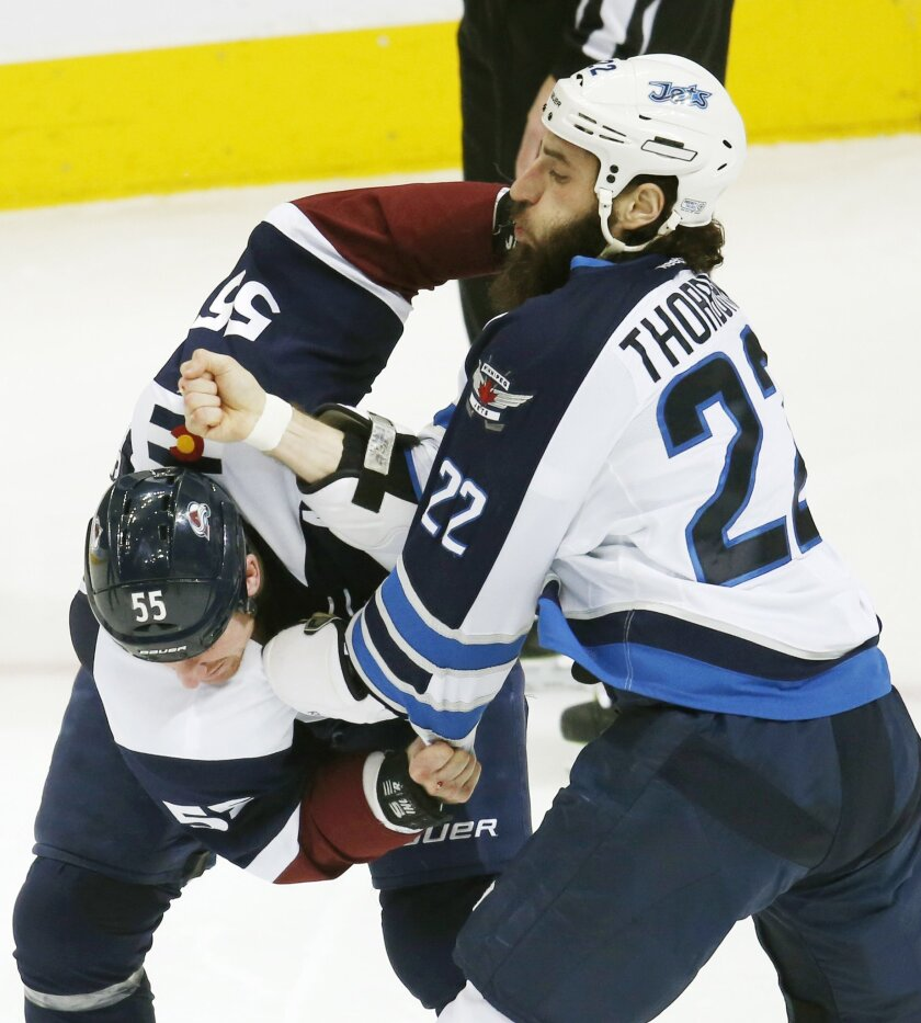 Winnipeg Jets right wing Chris Thorburn, right, throws a punch at Colorado Avalanche left wing Cody McLeod during a fight in the first period of an NHL hockey game Saturday, Feb. 6, 2016, in Denver. (AP Photo/David Zalubowski)