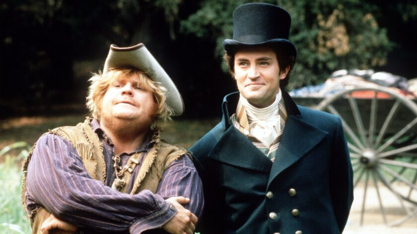 """Chris Farley, left, and Matthew Perry """"Almost Heroes."""""""