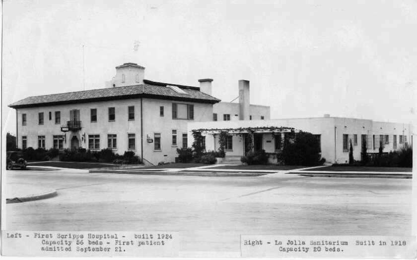 Scripps Memorial Hospital (left) on Prospect Street closed in May 1964 when a new, larger facility was built.