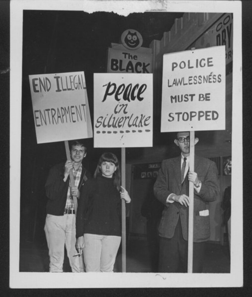 In 1967, PRIDE (Personal Rights in Defense and Education) led hundreds in protest of a police raid on the Black Cat bar in Los Angeles that left numerous injured and a bartender in critical condition.