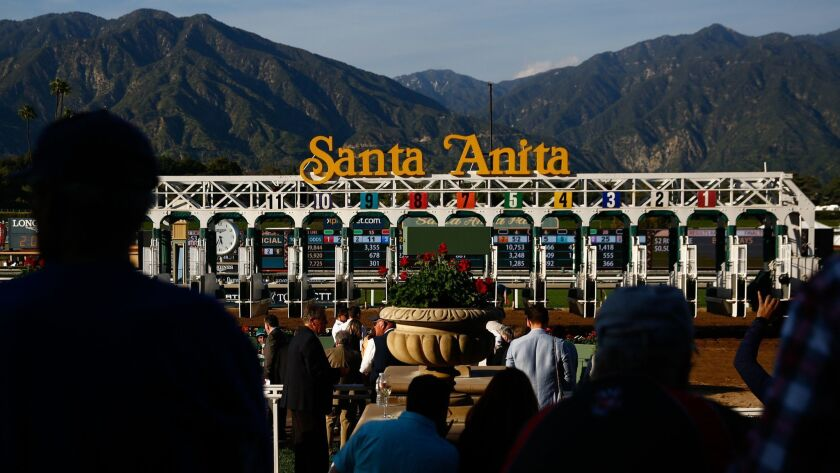 ARCADIA, CALIF. - APRIL 06: The starting gate is moved after a race at Santa Anita Park on Saturday,