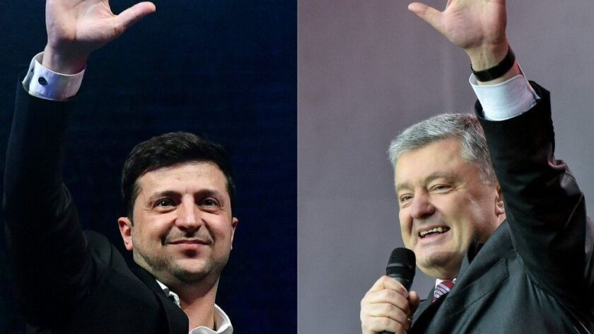 Ukrainians go to the polls Sunday to decide between presidential candidate Volodymyr Zelensky, left, a comedian and television star, and Ukrainian President Petro Poroshenko, right, who has been in office since 2015.