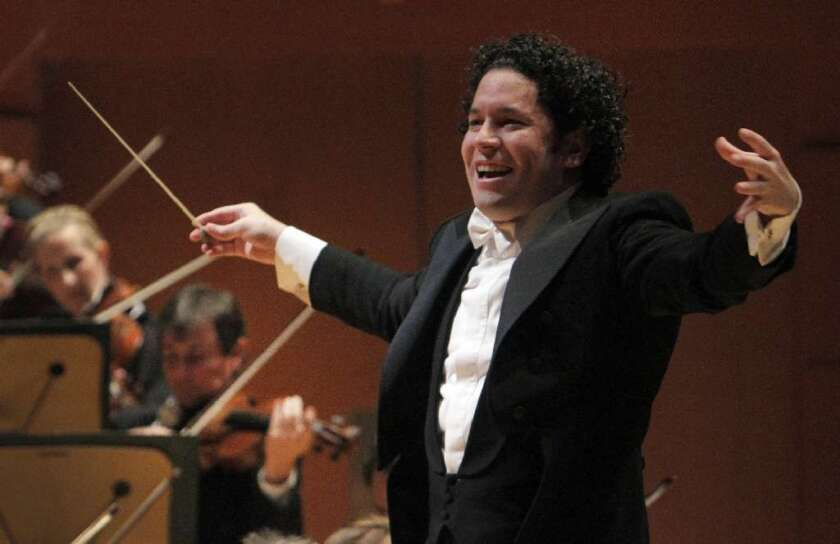 """Gustavo Dudamel conducting the L.A. Philharmonic in Beethoven's """"Eroica"""" Symphony at the Walt Disney Concert Hall in Los Angeles on October."""