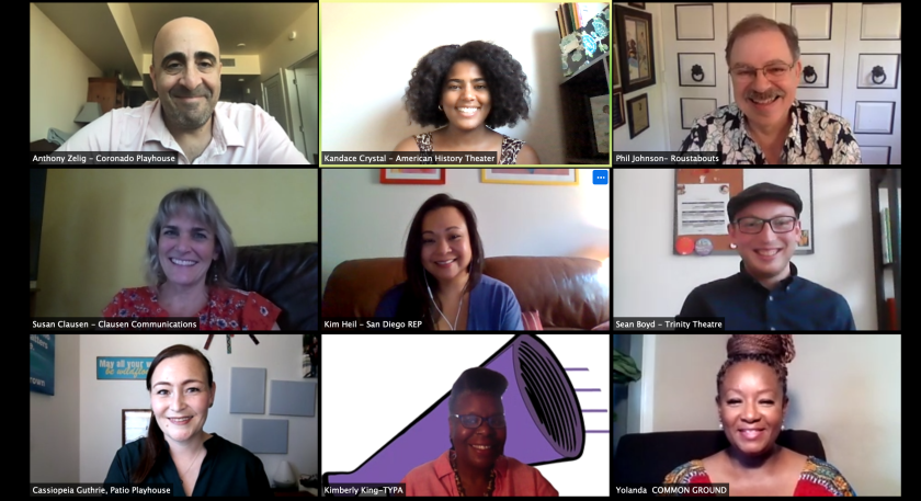 A Zoom meeting of the Ambassadors board for San Diego's newly formed Theatre Alliance.