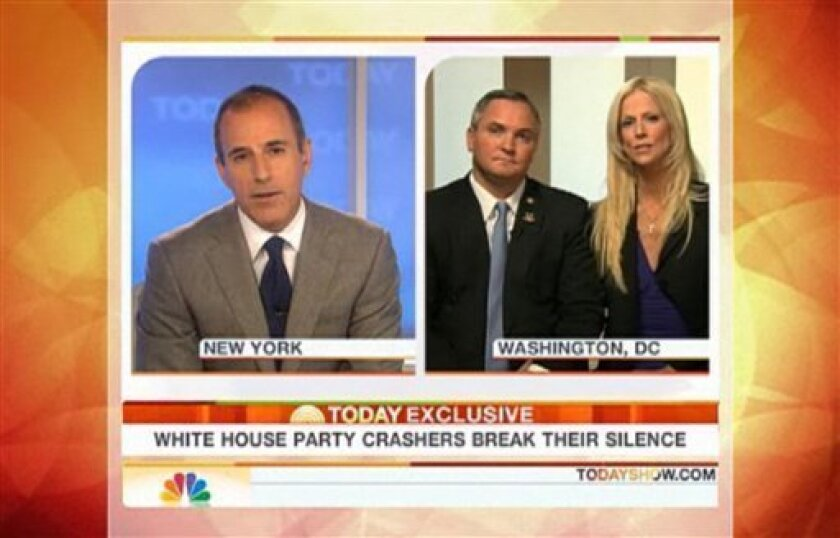 """In this image made from video provided Tuesday, Dec. 1, 2009 by NBC Universal, Tareq and Michaele Salahi, right, are interviewed by the """"Today"""" show's host Matt Lauer. The couple that got into the White House state dinner for the visiting Indian prime minister without invitations denied Tuesday that they were gatecrashers. Appearing on the same program, White House spokesman Robert Gibbs insisted the Salahis had not been invited. (AP Photo/NBC Universal)"""