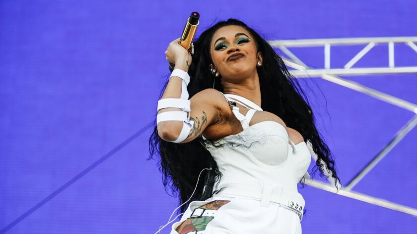 INDIO,CA -- SUNDAY, APRIL 22, 2018-- Cardi B performs at the Coachella stage Sunday for Coachella V