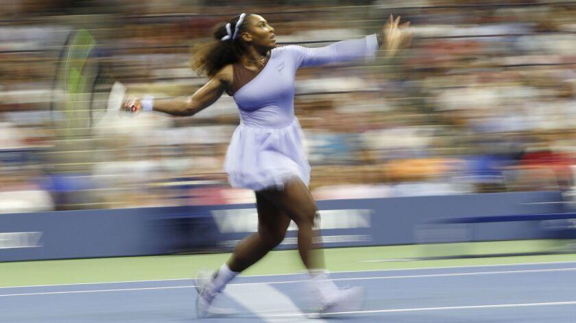 Serena Williams hits a return to Anastasija Sevastova during their U.S. Open semifinal match in New York on Sept. 6.