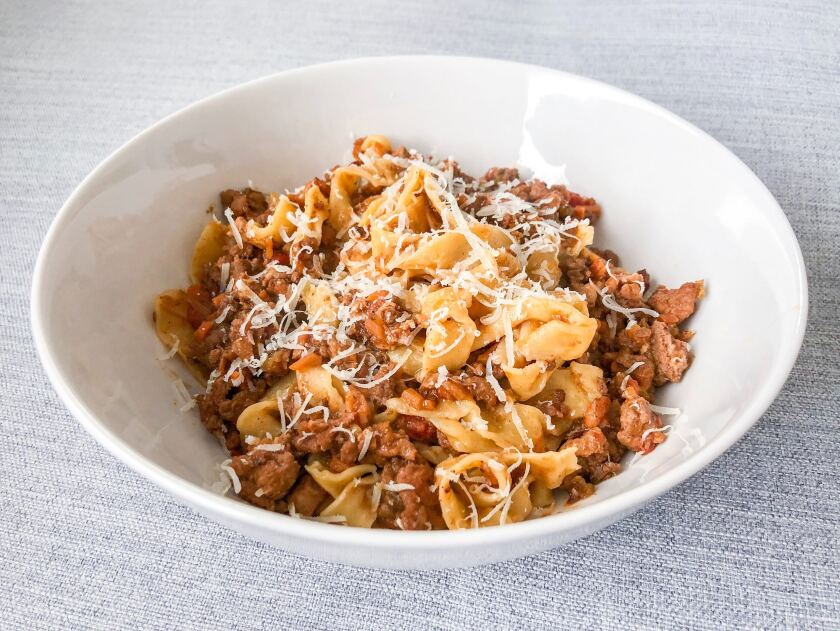 Tagliatelle tossed in Bolognese from Orso, a pasta-focused takeout service.