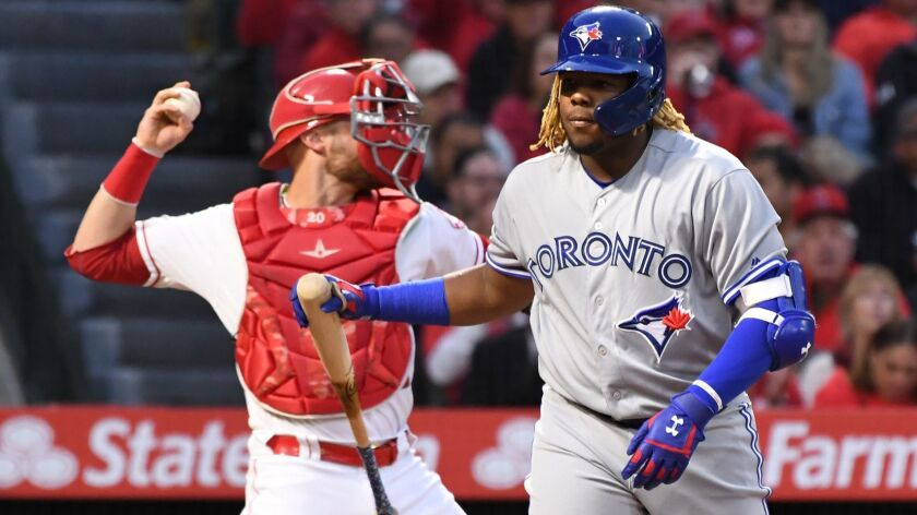 ANAHEIM, CALIFORNIA APRIL 30, 2019-Blue Jays hitter Vladimir Guerrero Jr. stikes out against the Ang