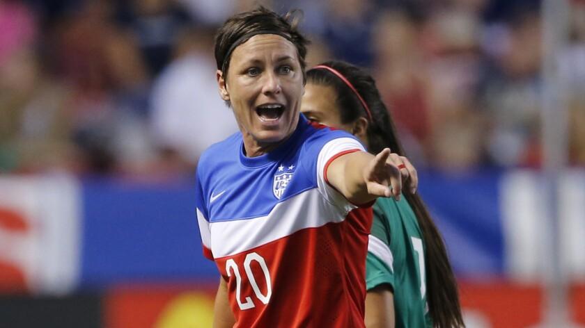 U.S. women's national team forward Abby Wambach points toward an official during an international friendly against Mexico on Sept. 13.