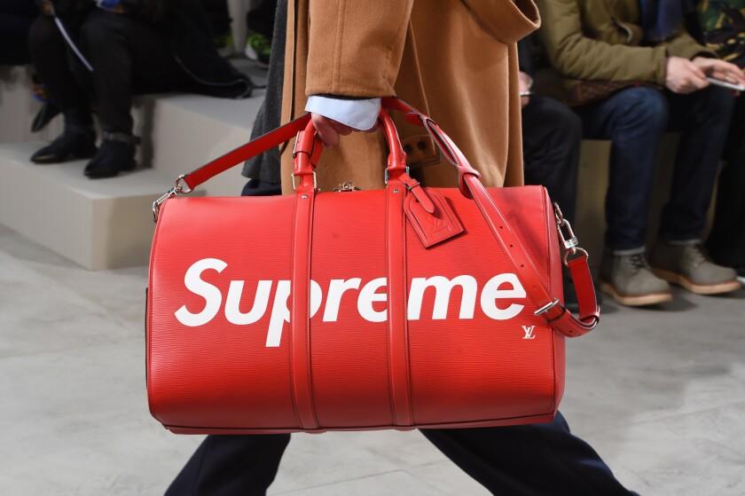 A duffel bag from Louis Vuitton's collaborative capsule collection with skate-influenced streetwear label Supreme hit the fall/winter 2017 menswear runway in January in Paris.
