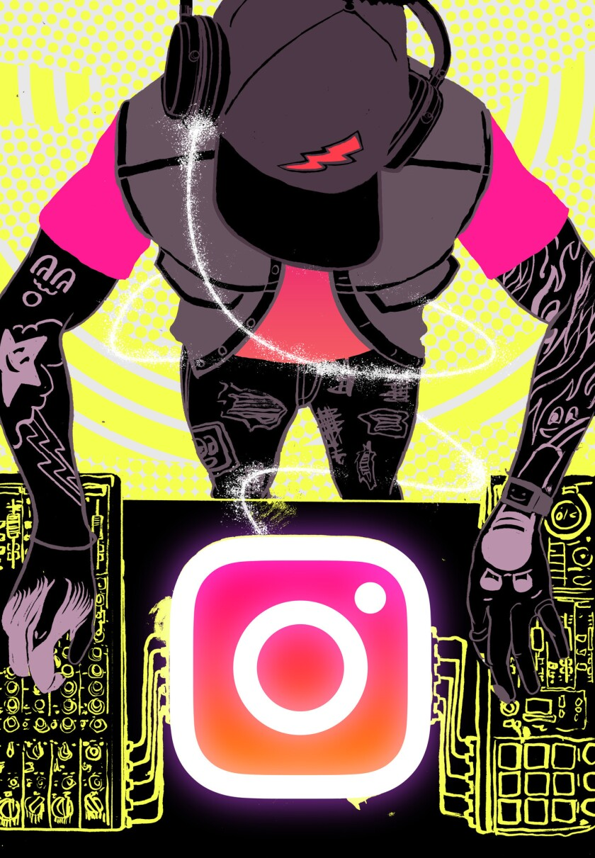 ONE TIME USE - Illustration to go with a trend story on how hip hop artists are using instagram. la