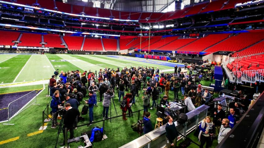 The media view Mercedes-Benz Stadium in Atlanta on Tuesday amid Super Bowl LIII preparations.