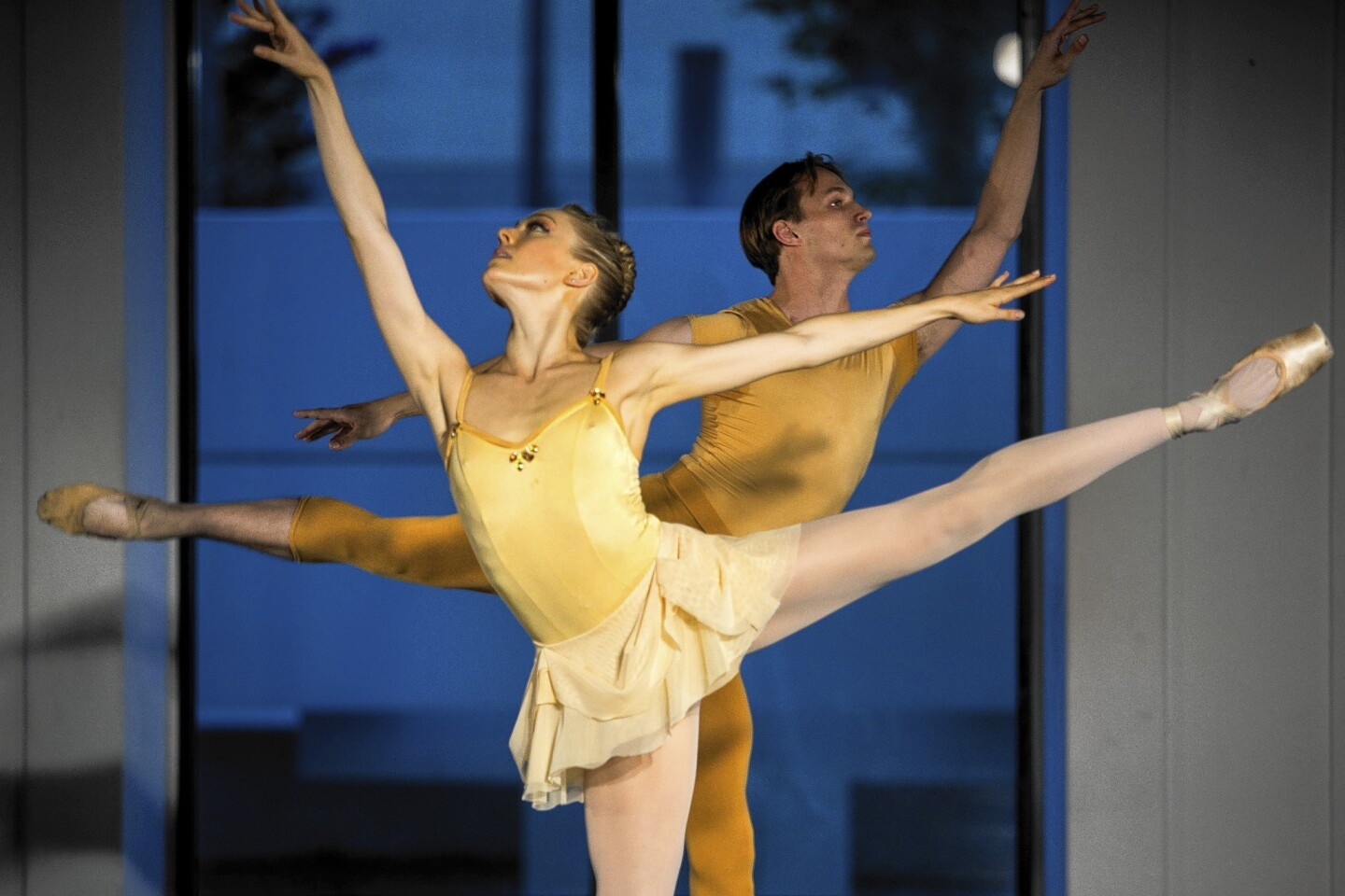 Alisha Brach and Colby Parsons interpret Tchaikovsky's Piano Trio in A Minor, Op. 50 during American Contemporary Ballet's performance at ACB DanceSpace.
