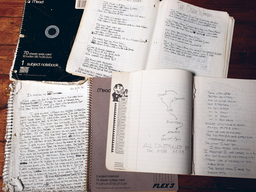Pages from Jeff Buckley's journals