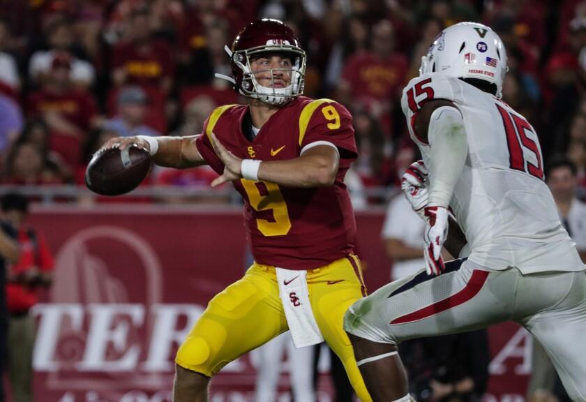USC quarterback Kedon Slovis will be back under center this week against Notre Dame.