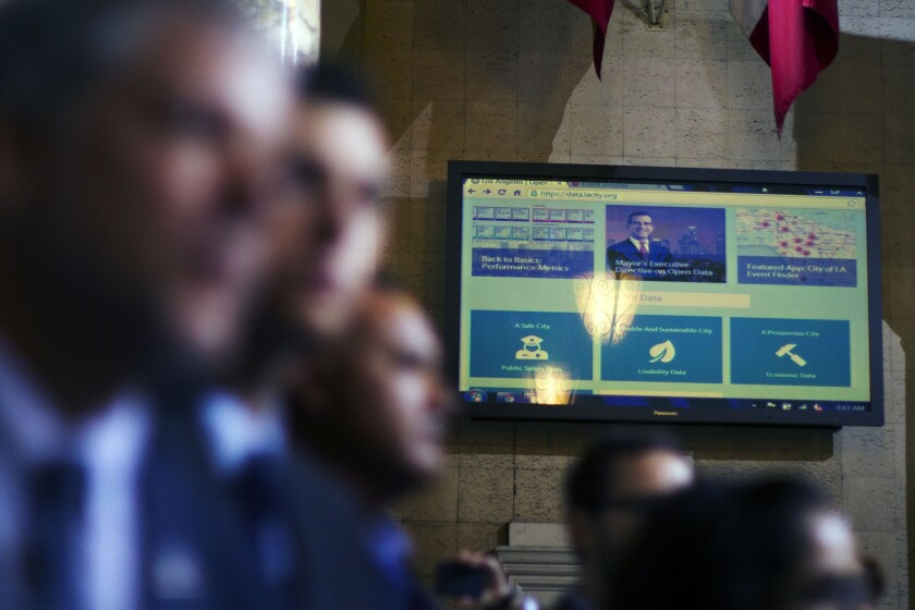 Mayor Eric Garcetti unveils a new city data website during a technology conference at Los Angeles City Hall.