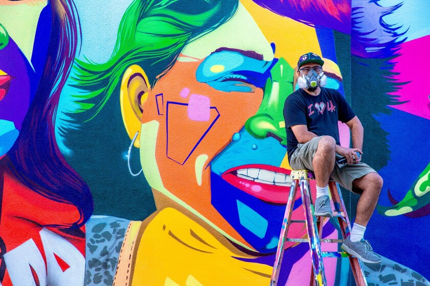 Los Angeles artist Man One will return to the Palomar College campus Tuesday to dedicate his mural.
