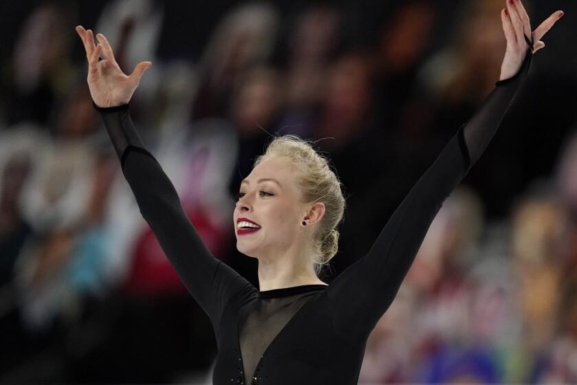Bradie Tennell performs during the women's short program at the U.S. Figure Skating Championships, Thursday, Jan. 14, 2021, in Las Vegas. (AP Photo/John Locher)