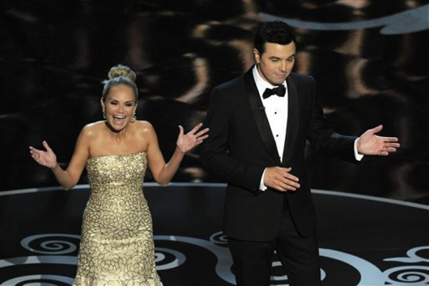 """Host Seth MacFarlane, right, and actress Kristin Chenoweth perform a song dedicated to the """"losers"""" during the finale of the Oscars at the Dolby Theatre on Sunday Feb. 24, 2013, in Los Angeles.  (Photo by Chris Pizzello/Invision/AP)"""