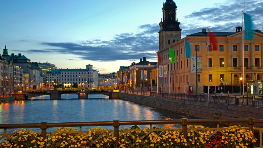 The Town Hall and canal in Gothenburg, Sweden