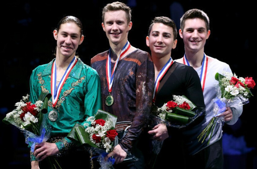 The top four finishers in the U.S. Figure Skating men's championships were (from left) runner-up Jason Brown, winner Jeremy Abbott, third-placer Max Aaron and Joshua Farris.