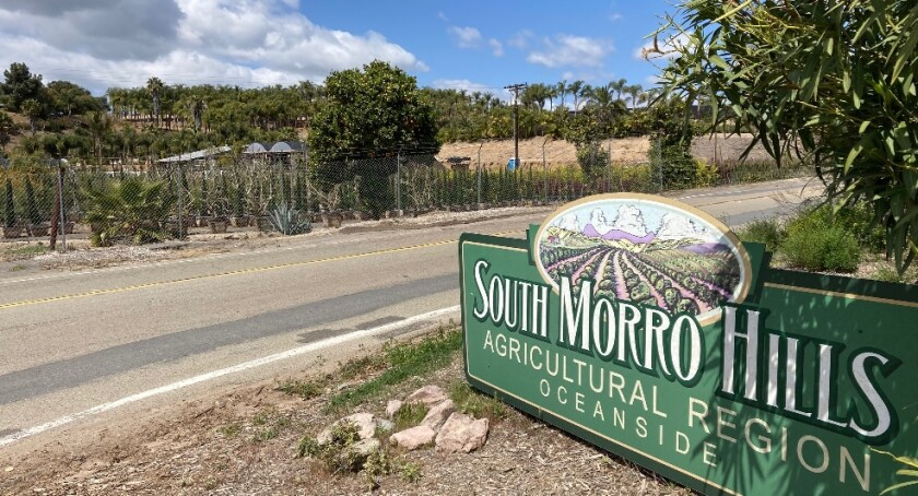 The entrance to South Morro Hills at Sleeping Indian Road and North River Road.