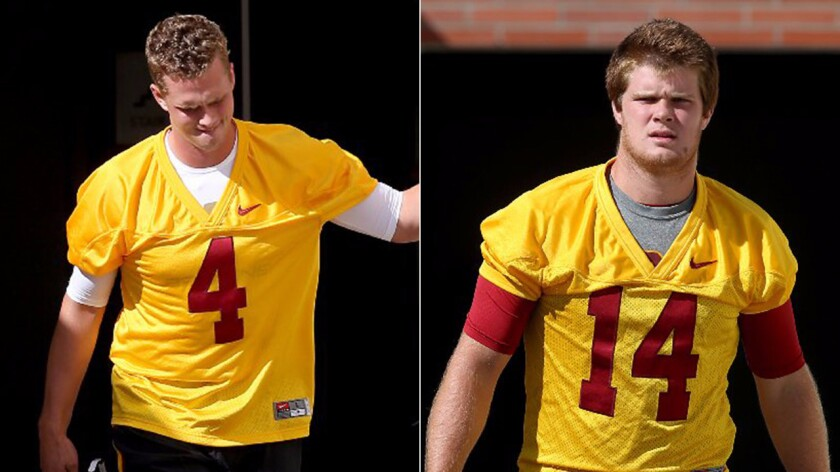 Coach Clay Helton is set to announce Saturday whether Max Browne (4) or Sam Darnold (14) will be USC's starting quarterback for the 2016 season.
