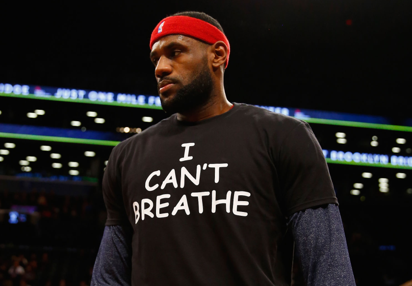 LeBron James wears an 'I CAN'T BREATHE' shirt while warming up before a game in 2014.