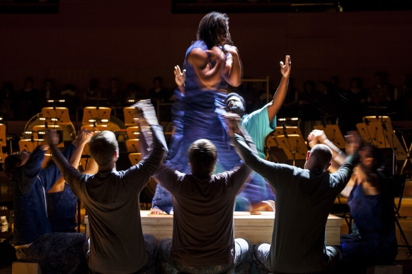 """Rehearsal for """"The Gospel According to the Other Mary"""" at Walt Disney Concert Hall in L.A."""
