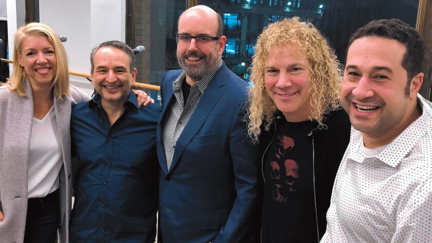 The creative team behind 'Diana': choreographer Kelly Devine, playwright/lyricist Joe DiPietro, director Christopher Ashley, composer/lyricist David Bryan and music supervisor Ian Eisendrath