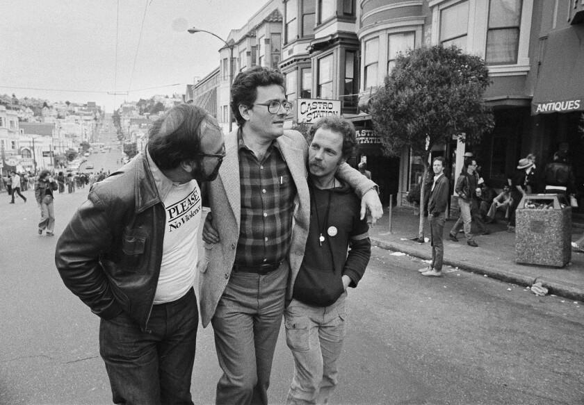 Former San Francisco Supervisor Harry Britt, center, with friends in 1979.