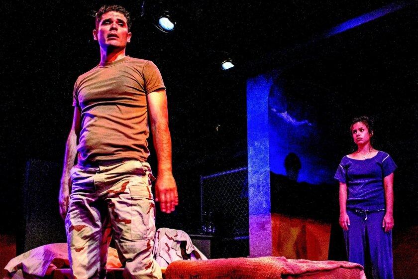 "Jorge Rodriguez and Jacqueline Grace Lopez in ""References to Salvador Dali Make Me Hot"" at Moxie Theatre. CREDIT: Daren Scott"