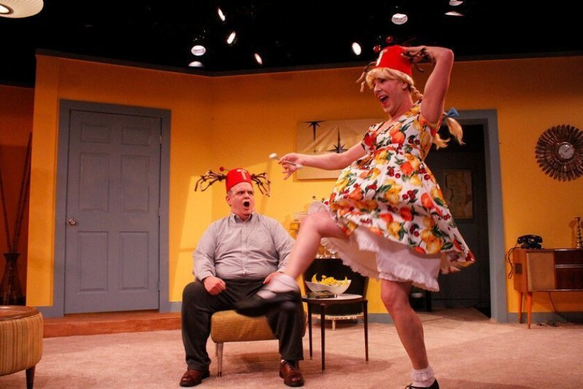 """Fred Harlow as Fred and Tony Houck as Suzie in Diversionary Theatre's world premiere comedy """"She-Rantulas from Outer Space in 3D!"""" CREDIT: Daren Scott"""